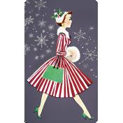 Memories and Traditions- Ephemera Card Walking Lady