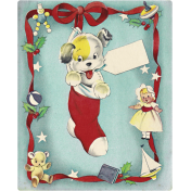 Memories and Traditions- Ephemera Card Puppy in Stocking