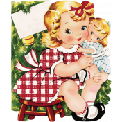Memories and Traditions- Ephemera Card Girl with Doll