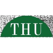 Toolbox Calendar- Date Sticker Kit- Days- Dark Green Thursday
