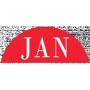Toolbox Calendar- Date Sticker Kit- Months- Red January