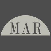 Toolbox Calendar- Date Sticker Kit- Months- White March