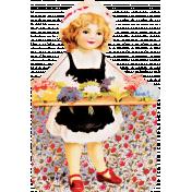 Spring Day- Vintage Girl Selling Posies Ephemera