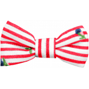 Spring Day- Red and White Fabric Bow