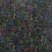 Raindrops & Rainbows- Black Doodle Paper