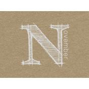 Toolbox Calendar- Sketchy Month Journal Card- November 4x3