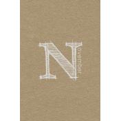 Toolbox Calendar- Sketchy Month Journal Card- November 4x6