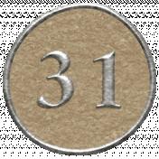 Toolbox Calendar- Dot Number 31 Brown