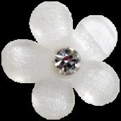 Slice of Summer- White Flower Button