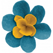 Woodland Winter- Blue & Yellow Felt Flower