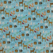Woodland Winter- Blue Animals Paper