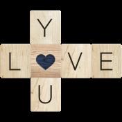 Rustic Charm- Love You Word Art