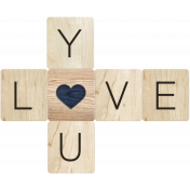 Rustic Charm- Love You Word Art