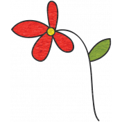 Look, A Book!- Red Flower Doodle 2