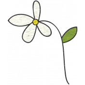Look, A Book!- White Flower Doodle