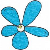Look, A Book!- Teal Flower Doodle 2