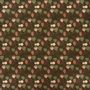 Strawberry Fields- Brown Strawberry Doodle Paper