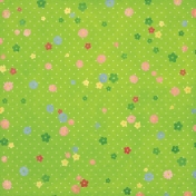Strawberry Fields- Green Flower Paper