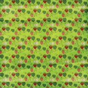 Strawberry Fields- Strawberry Doodle Paper- Green