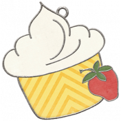 Strawberry Fields- Cupcake Doodle Charm