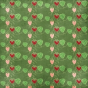 Strawberry Fields- Green Strawberry Doodle Paper