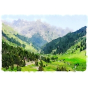 Travel Log Watercolor Mountains 03