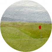 Golf Circle Course with Flag