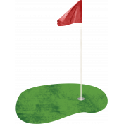 Golf Green with Flag and Hole