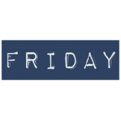 Work From Home- Friday Word Label Navy Blue