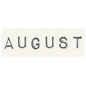 Work From Home- August Word Label White