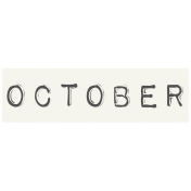 Work From Home- October Word Label White