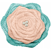 Burlap Flower- Teal Peach