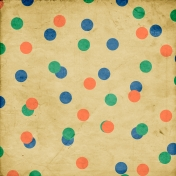 Peach, Green And Blue Dots On Beige Paper