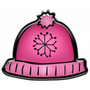 Winter Puffy Sticker Pink Snowflake Hat