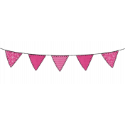 Winter Stitched Pink Flag Bunting