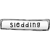 Winter Sticker Label Sledding