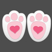 Easter Bunny Heart Footprints Element Pink