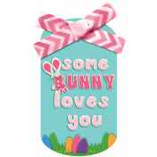 Easter Some Bunny Loves You Pink Tag Element