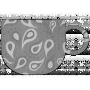 Paisley Print Grayscale Chipboard Mug Element