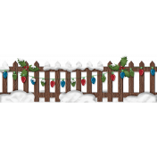 Home For The Holidays- Snowy Lighted Fence Element