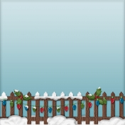 Home For The Holidays- Snowy Fence Paper