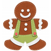 Stitched Christmas Gingerbread Boy Element