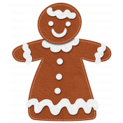 Stitched Christmas Gingerbread Girl Element