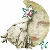 Altered Art Woman in the Moon