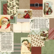 Retro Holly Jolly Collage Paper #1