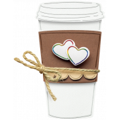 Layered Coffee Cup with Rainbow Hearts