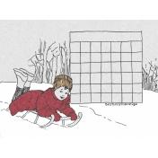 Winter Day Journal Card Calendar Blank 3x4