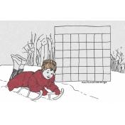 Winter Day Journal Card Calendar Blank 4x6