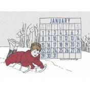 Winter Day Journal Card January Calendar 3x4
