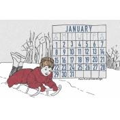 Winter Day Journal Card January Calendar 4x6